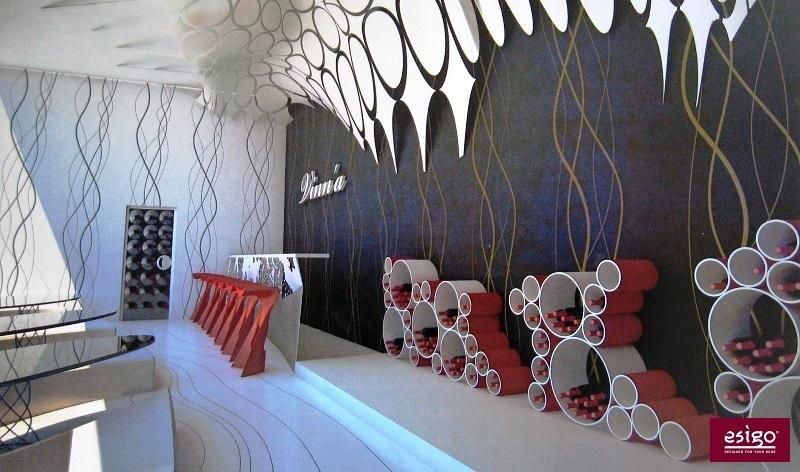 Portabottiglie di design per arredamento wine bar
